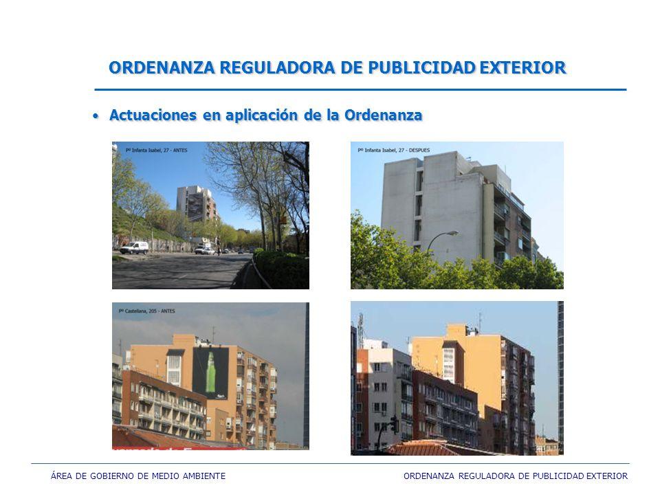 ÁREA DE GOBIERNO DE MEDIO AMBIENTE ORDENANZA REGULADORA DE PUBLICIDAD EXTERIOR ORDENANZA REGULADORA DE PUBLICIDAD EXTERIOR Actuaciones en aplicación de la Ordenanza Actuaciones en aplicación de la Ordenanza
