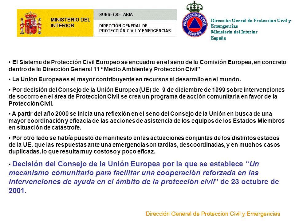 El Sistema de Protección Civil Europeo se encuadra en el seno de la Comisión Europea, en concreto dentro de la Dirección General 11 Medio Ambiente y P