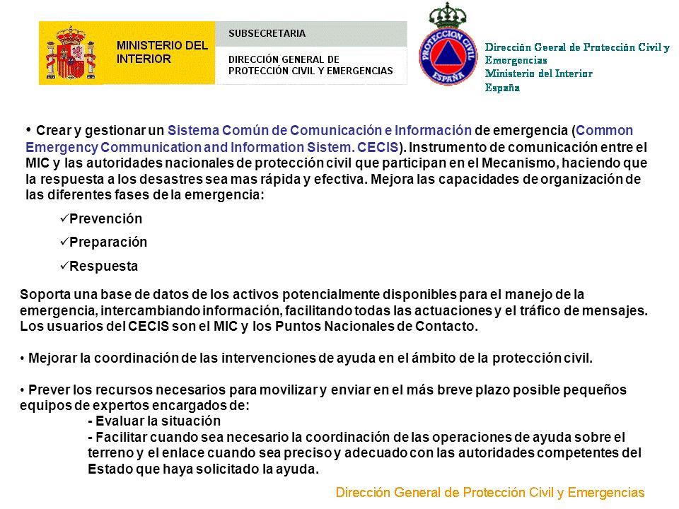Crear y gestionar un Sistema Común de Comunicación e Información de emergencia (Common Emergency Communication and Information Sistem. CECIS). Instrum