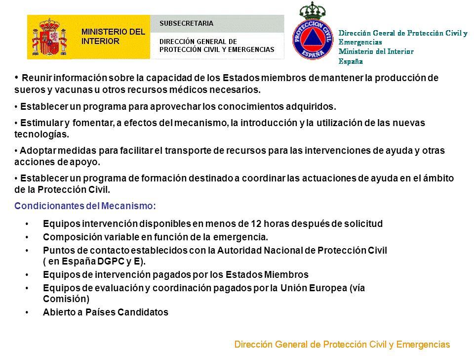 Reunir información sobre la capacidad de los Estados miembros de mantener la producción de sueros y vacunas u otros recursos médicos necesarios. Estab