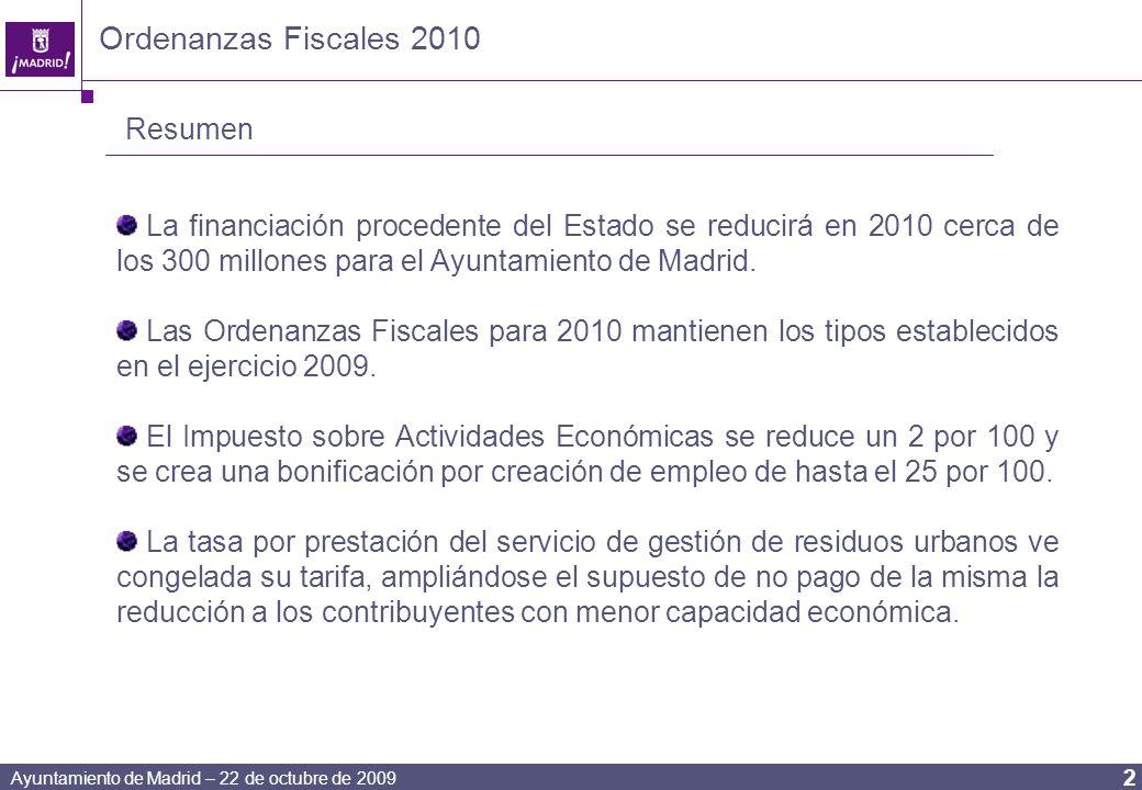 Ayuntamiento de Madrid – 22 de octubre de 2009 2 Ordenanzas Fiscales 2010 Resumen La financiación procedente del Estado se reducirá en 2010 cerca de los 300 millones para el Ayuntamiento de Madrid.