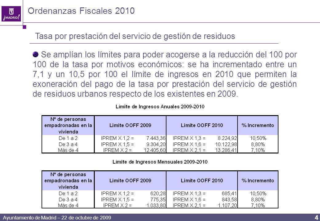 Ayuntamiento de Madrid – 22 de octubre de 2009 4 Ordenanzas Fiscales 2010 Tasa por prestación del servicio de gestión de residuos Se amplían los límites para poder acogerse a la reducción del 100 por 100 de la tasa por motivos económicos: se ha incrementado entre un 7,1 y un 10,5 por 100 el límite de ingresos en 2010 que permiten la exoneración del pago de la tasa por prestación del servicio de gestión de residuos urbanos respecto de los existentes en 2009.