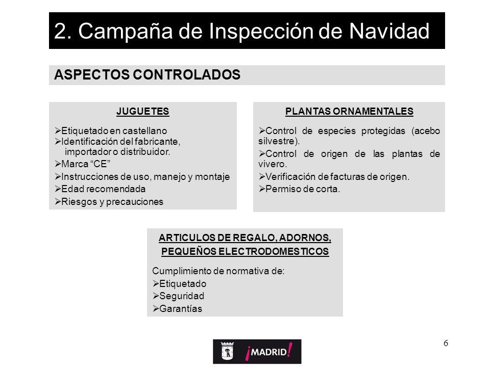 6 2. Campaña de Inspección de Navidad ASPECTOS CONTROLADOS JUGUETES Etiquetado en castellano Identificación del fabricante, importador o distribuidor.