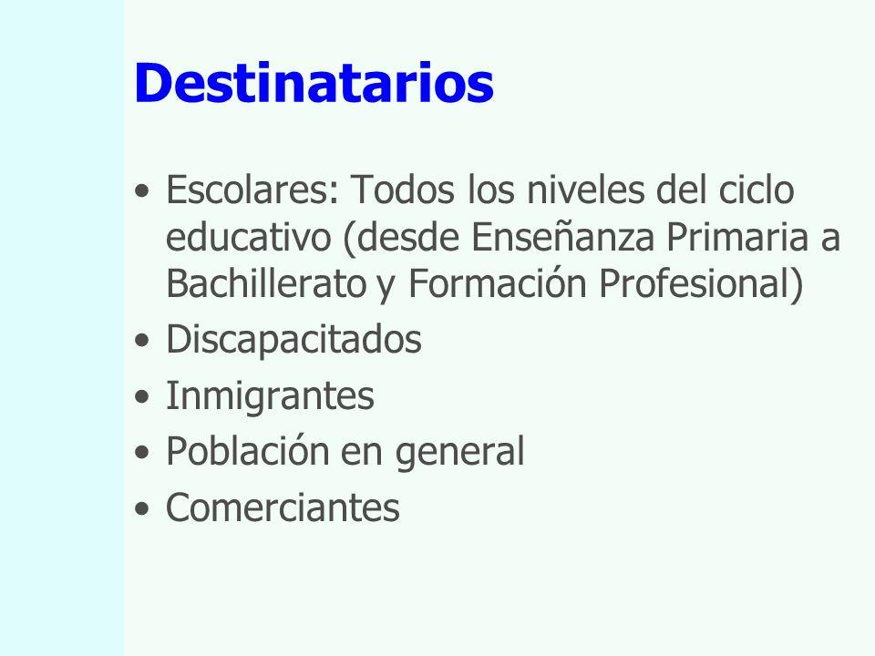 Destinatarios Escolares: Todos los niveles del ciclo educativo (desde Enseñanza Primaria a Bachillerato y Formación Profesional) Discapacitados Inmigrantes Población en general Comerciantes