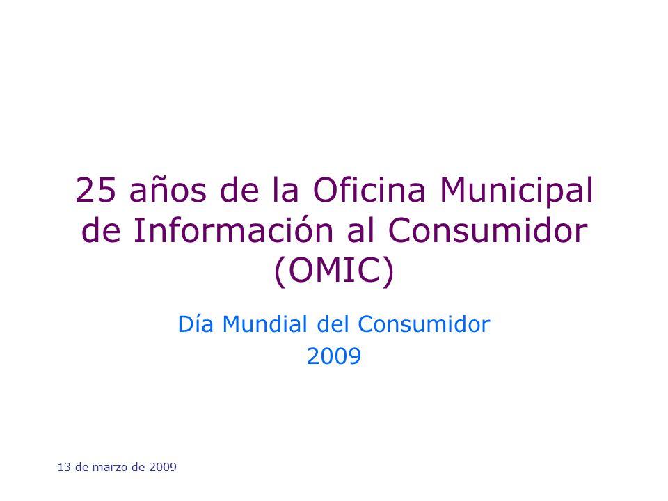 13 de marzo de 2009 25 años de la Oficina Municipal de Información al Consumidor (OMIC) Día Mundial del Consumidor 2009