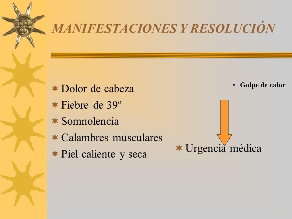 MANIFESTACIONES Y RESOLUCIÓN Dolor de cabeza Fiebre de 39º Somnolencia Calambres musculares Piel caliente y seca Golpe de calor Urgencia médica