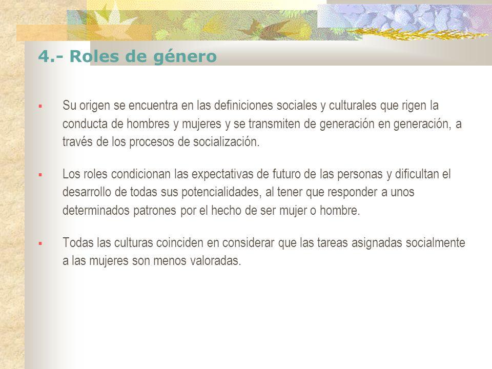 4.- Roles de género Su origen se encuentra en las definiciones sociales y culturales que rigen la conducta de hombres y mujeres y se transmiten de gen
