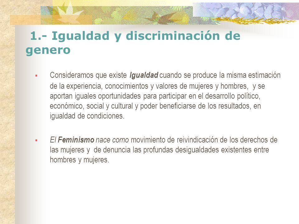 1.- Igualdad y discriminación de genero El feminismo ha contribuido al desarrollo de la democracia definiendo a igualdad entre mujeres y hombres, como principio fundamental de los derechos humanos de las mujeres.