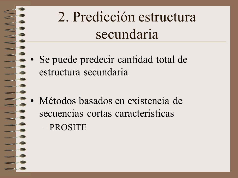 2. Predicción estructura secundaria Se puede predecir cantidad total de estructura secundaria Métodos basados en existencia de secuencias cortas carac