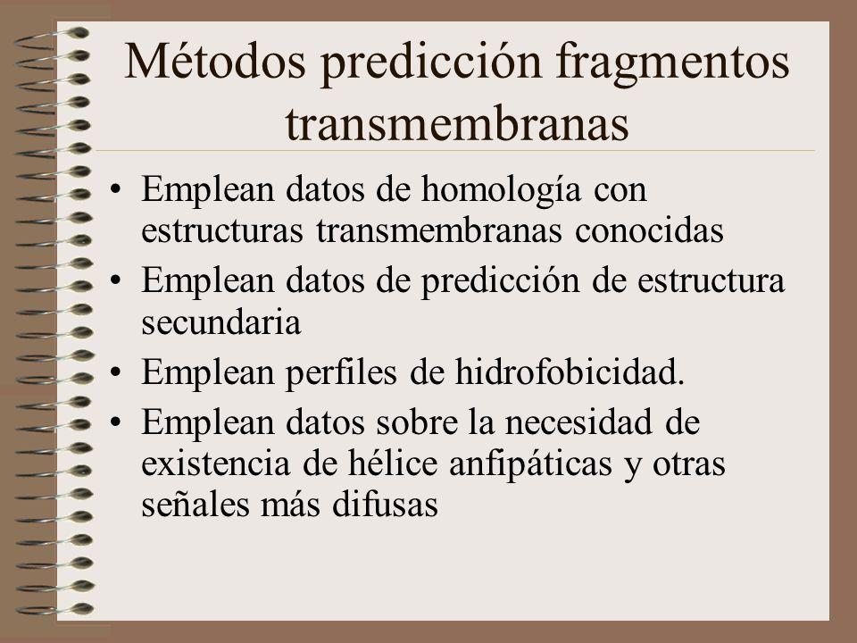 Métodos predicción fragmentos transmembranas Emplean datos de homología con estructuras transmembranas conocidas Emplean datos de predicción de estruc