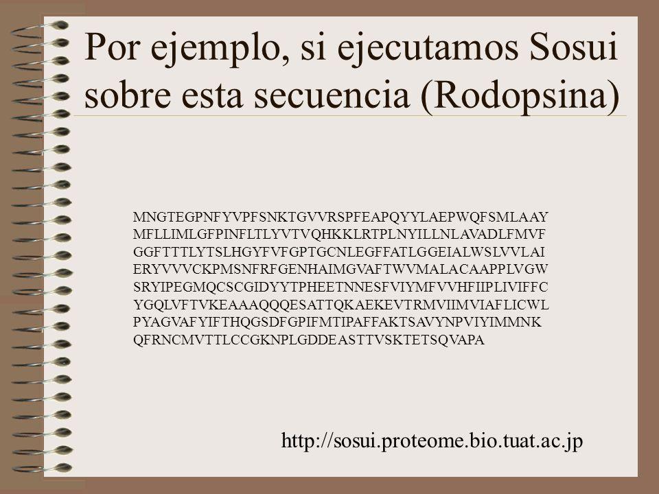 Por ejemplo, si ejecutamos Sosui sobre esta secuencia (Rodopsina) http://sosui.proteome.bio.tuat.ac.jp MNGTEGPNFYVPFSNKTGVVRSPFEAPQYYLAEPWQFSMLAAY MFL