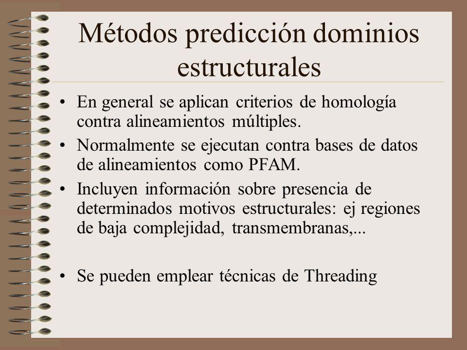 Métodos predicción dominios estructurales En general se aplican criterios de homología contra alineamientos múltiples. Normalmente se ejecutan contra