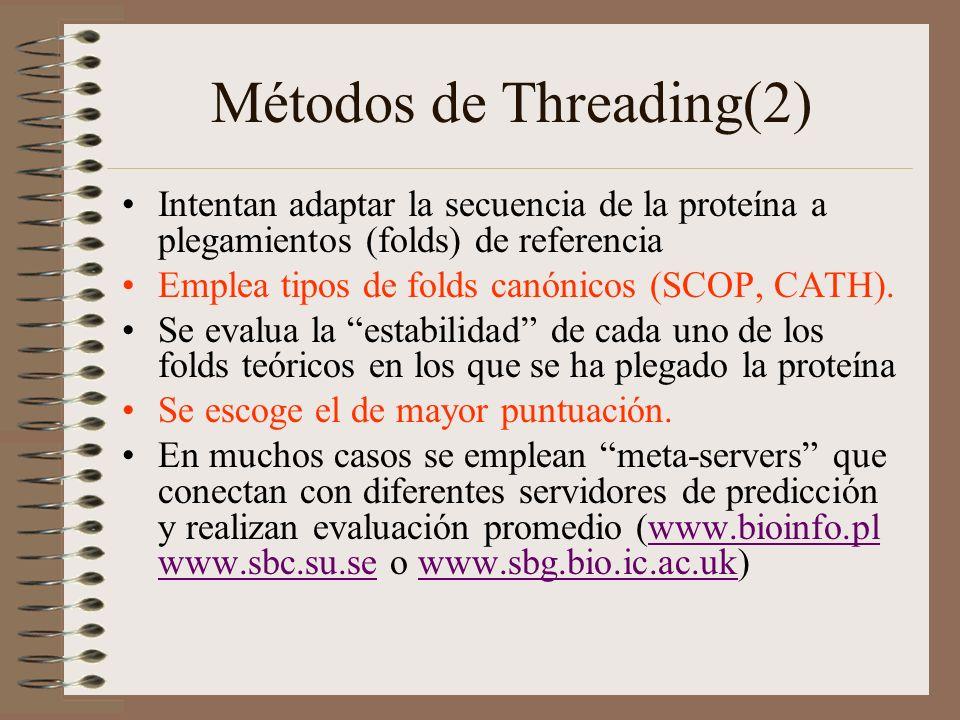 Métodos de Threading(2) Intentan adaptar la secuencia de la proteína a plegamientos (folds) de referencia Emplea tipos de folds canónicos (SCOP, CATH)