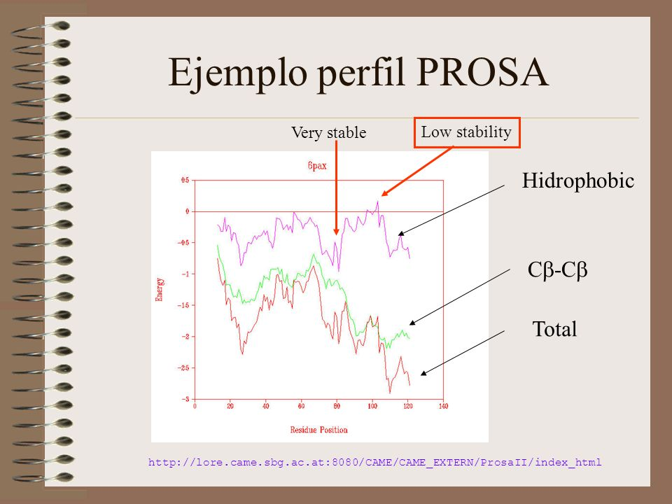 Ejemplo perfil PROSA Total Hidrophobic C -C http://lore.came.sbg.ac.at:8080/CAME/CAME_EXTERN/ProsaII/index_html Very stable Low stability