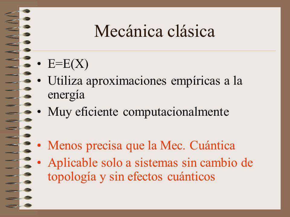 Mecánica clásica E=E(X) Utiliza aproximaciones empíricas a la energía Muy eficiente computacionalmente Menos precisa que la Mec. Cuántica Aplicable so