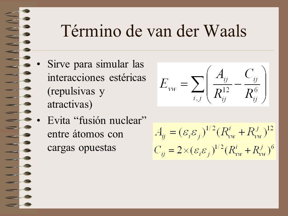 Sirve para simular las interacciones estéricas (repulsivas y atractivas) Evita fusión nuclear entre átomos con cargas opuestas