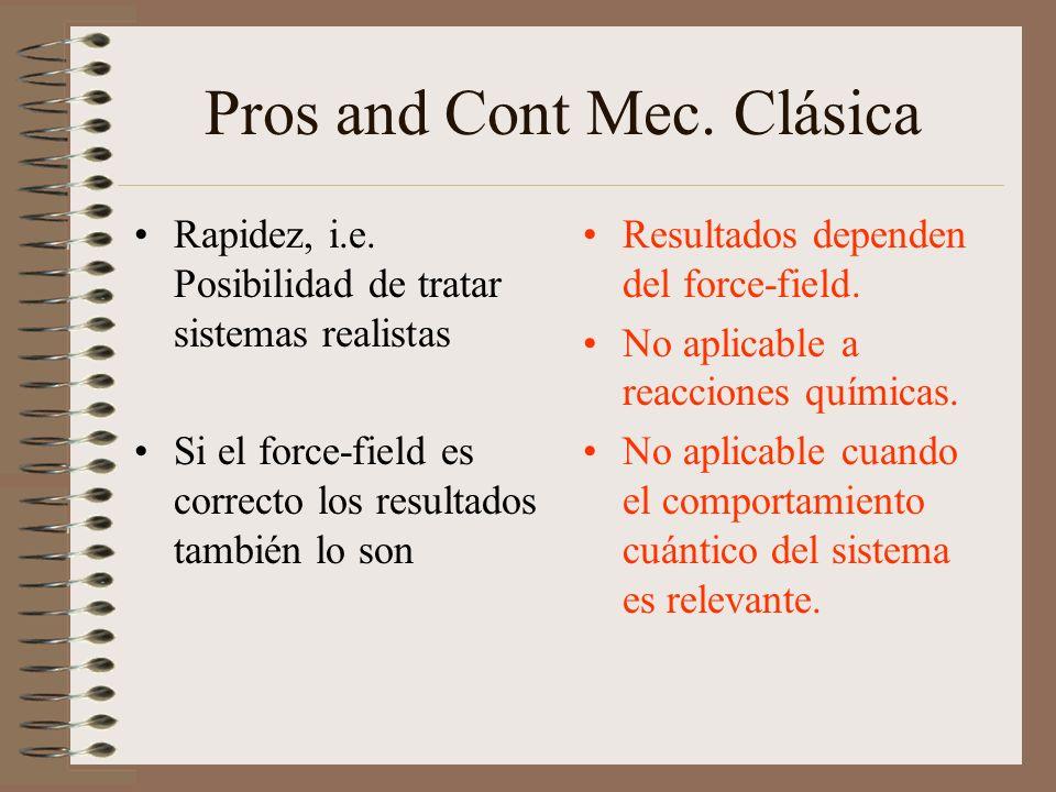 Pros and Cont Mec. Clásica Rapidez, i.e. Posibilidad de tratar sistemas realistas Si el force-field es correcto los resultados también lo son Resultad