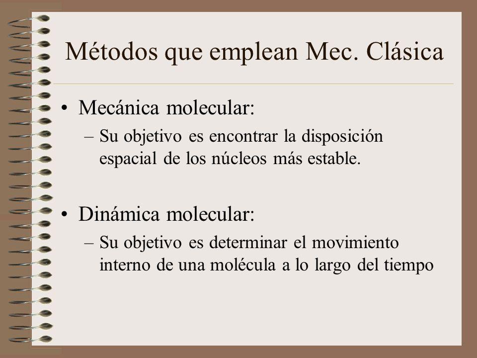 Métodos que emplean Mec. Clásica Mecánica molecular: –Su objetivo es encontrar la disposición espacial de los núcleos más estable. Dinámica molecular: