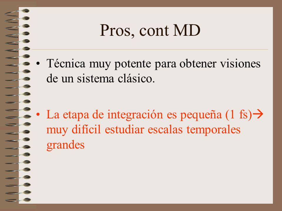 Pros, cont MD Técnica muy potente para obtener visiones de un sistema clásico. La etapa de integración es pequeña (1 fs) muy difícil estudiar escalas