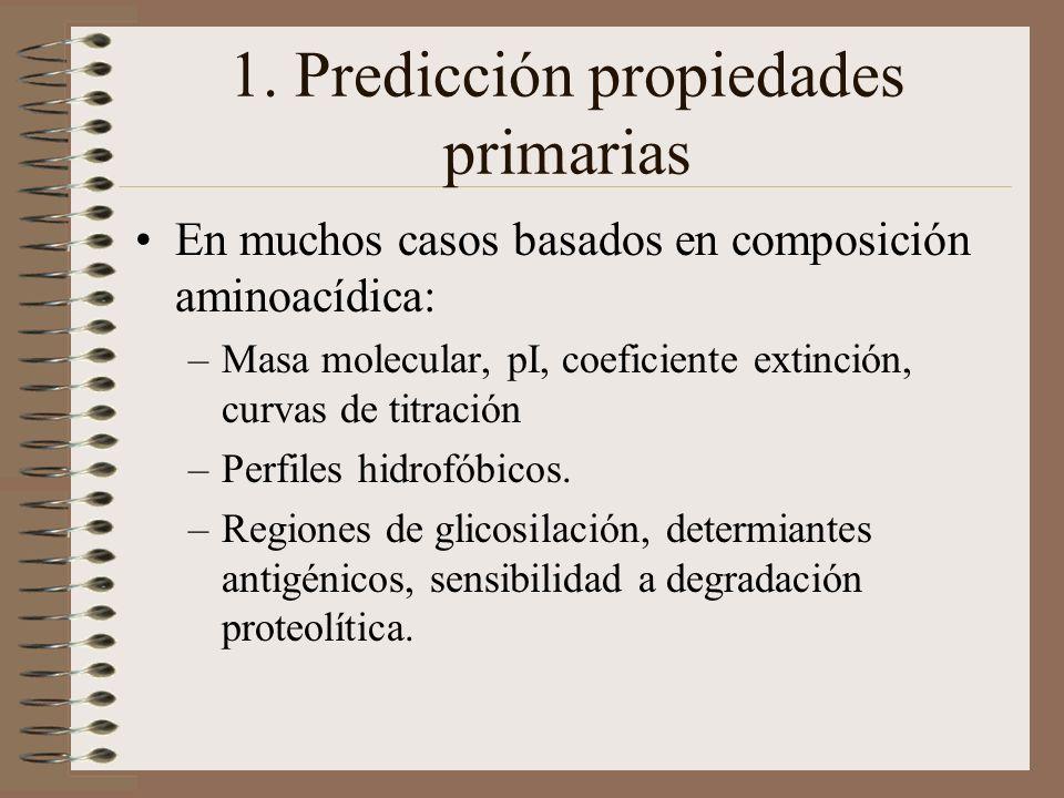 1. Predicción propiedades primarias En muchos casos basados en composición aminoacídica: –Masa molecular, pI, coeficiente extinción, curvas de titraci