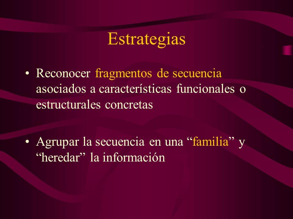 Estrategias Reconocer fragmentos de secuencia asociados a características funcionales o estructurales concretas Agrupar la secuencia en una familia y heredar la información