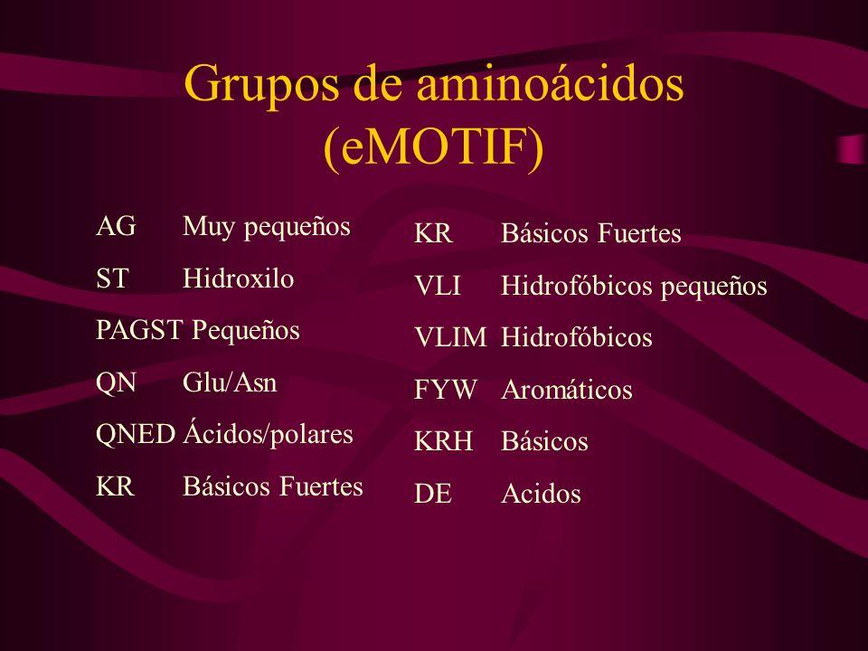 Grupos de aminoácidos (eMOTIF) AGMuy pequeños STHidroxilo PAGST Pequeños QNGlu/Asn QNEDÁcidos/polares KRBásicos Fuertes VLIHidrofóbicos pequeños VLIMHidrofóbicos FYWAromáticos KRHBásicos DEAcidos