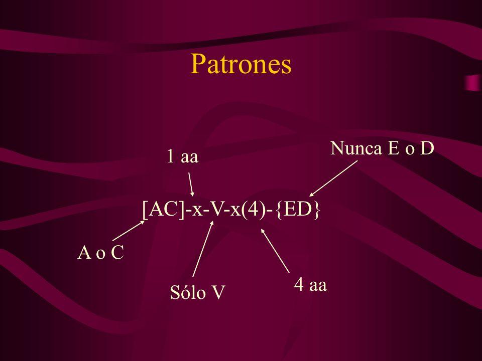 Patrones [AC]-x-V-x(4)-{ED} A o C 1 aa 4 aa Nunca E o D Sólo V