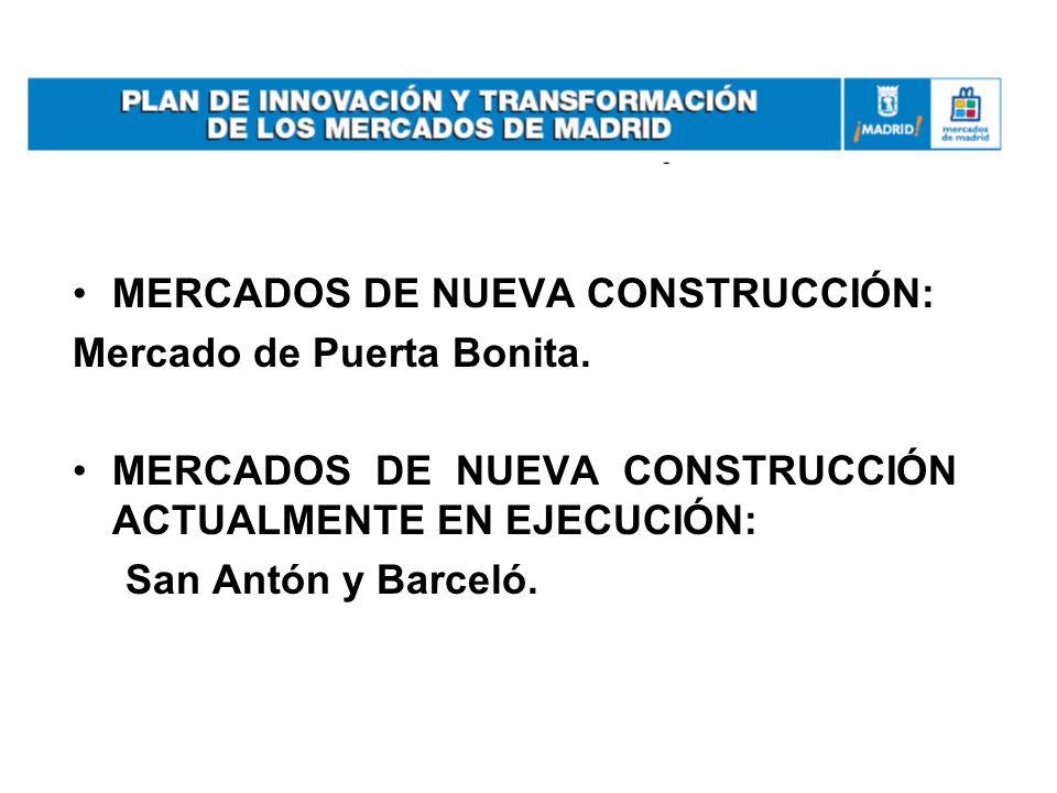 MERCADOS DE NUEVA CONSTRUCCIÓN: Mercado de Puerta Bonita. MERCADOS DE NUEVA CONSTRUCCIÓN ACTUALMENTE EN EJECUCIÓN: San Antón y Barceló.