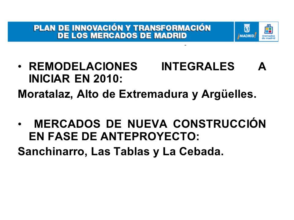 REMODELACIONES INTEGRALES A INICIAR EN 2010: Moratalaz, Alto de Extremadura y Argüelles. MERCADOS DE NUEVA CONSTRUCCIÓN EN FASE DE ANTEPROYECTO: Sanch