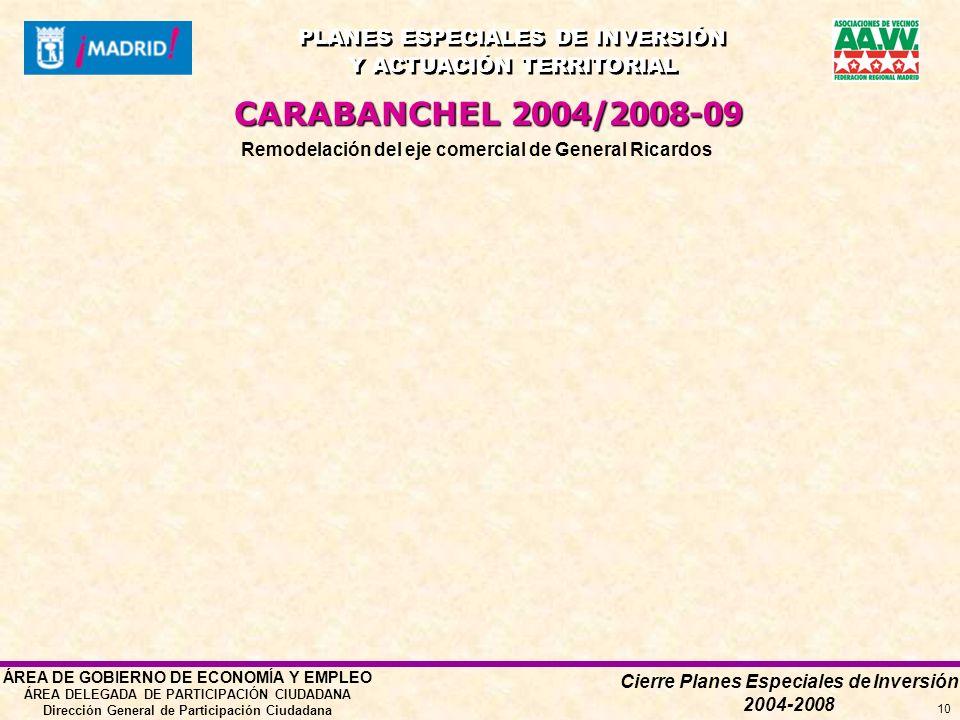 Cierre Planes Especiales de Inversión 2004-2008 PLANES ESPECIALES DE INVERSIÓN Y ACTUACIÓN TERRITORIAL PLANES ESPECIALES DE INVERSIÓN Y ACTUACIÓN TERRITORIAL ÁREA DE GOBIERNO DE ECONOMÍA Y EMPLEO ÁREA DELEGADA DE PARTICIPACIÓN CIUDADANA Dirección General de Participación Ciudadana 10 Remodelación del eje comercial de General Ricardos CARABANCHEL 2004/2008-09