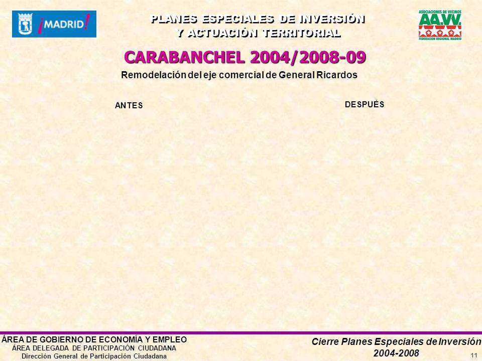 Cierre Planes Especiales de Inversión 2004-2008 PLANES ESPECIALES DE INVERSIÓN Y ACTUACIÓN TERRITORIAL PLANES ESPECIALES DE INVERSIÓN Y ACTUACIÓN TERRITORIAL ÁREA DE GOBIERNO DE ECONOMÍA Y EMPLEO ÁREA DELEGADA DE PARTICIPACIÓN CIUDADANA Dirección General de Participación Ciudadana 11 Remodelación del eje comercial de General Ricardos CARABANCHEL 2004/2008-09 ANTES DESPUÉS