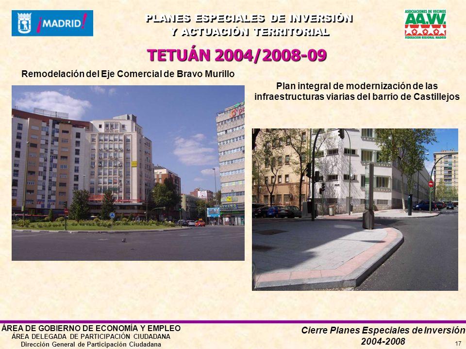 Cierre Planes Especiales de Inversión 2004-2008 PLANES ESPECIALES DE INVERSIÓN Y ACTUACIÓN TERRITORIAL PLANES ESPECIALES DE INVERSIÓN Y ACTUACIÓN TERRITORIAL ÁREA DE GOBIERNO DE ECONOMÍA Y EMPLEO ÁREA DELEGADA DE PARTICIPACIÓN CIUDADANA Dirección General de Participación Ciudadana 17 Plan integral de modernización de las infraestructuras viarias del barrio de Castillejos Remodelación del Eje Comercial de Bravo Murillo TETUÁN 2004/2008-09
