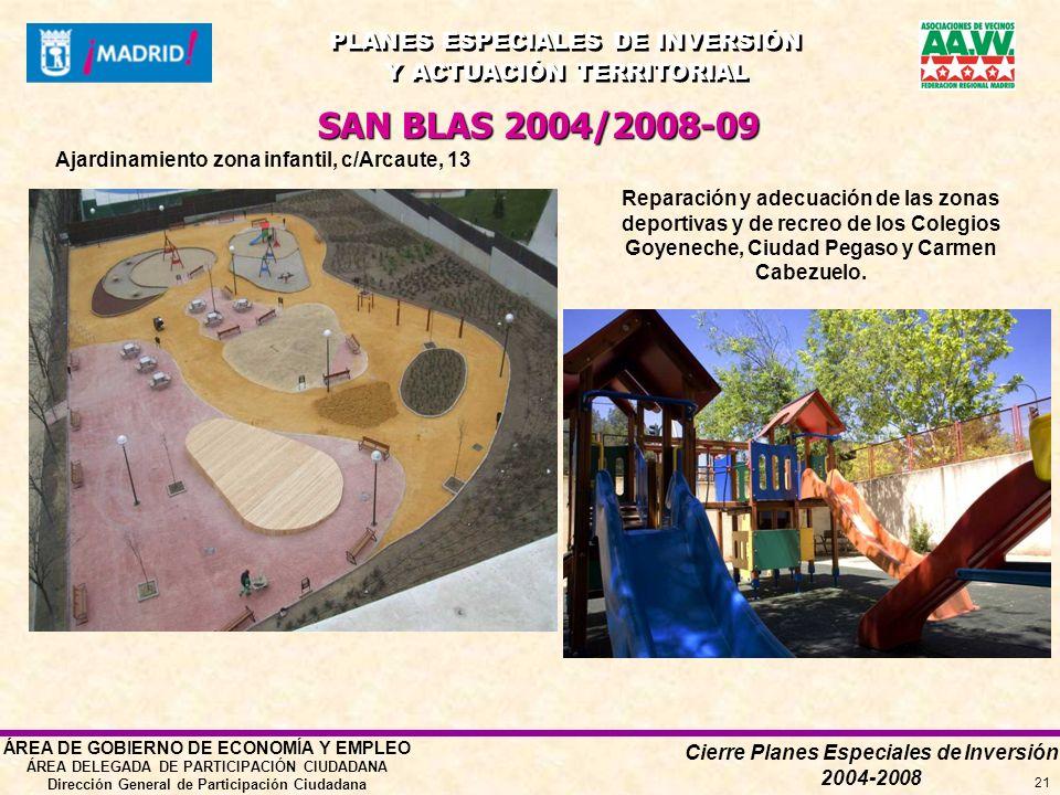 Cierre Planes Especiales de Inversión 2004-2008 PLANES ESPECIALES DE INVERSIÓN Y ACTUACIÓN TERRITORIAL PLANES ESPECIALES DE INVERSIÓN Y ACTUACIÓN TERRITORIAL ÁREA DE GOBIERNO DE ECONOMÍA Y EMPLEO ÁREA DELEGADA DE PARTICIPACIÓN CIUDADANA Dirección General de Participación Ciudadana 21 SAN BLAS 2004/2008-09 Ajardinamiento zona infantil, c/Arcaute, 13 Reparación y adecuación de las zonas deportivas y de recreo de los Colegios Goyeneche, Ciudad Pegaso y Carmen Cabezuelo.