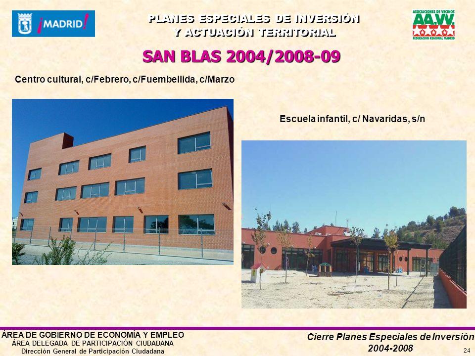 Cierre Planes Especiales de Inversión 2004-2008 PLANES ESPECIALES DE INVERSIÓN Y ACTUACIÓN TERRITORIAL PLANES ESPECIALES DE INVERSIÓN Y ACTUACIÓN TERRITORIAL ÁREA DE GOBIERNO DE ECONOMÍA Y EMPLEO ÁREA DELEGADA DE PARTICIPACIÓN CIUDADANA Dirección General de Participación Ciudadana 24 Centro cultural, c/Febrero, c/Fuembellida, c/Marzo SAN BLAS 2004/2008-09 Escuela infantil, c/ Navaridas, s/n