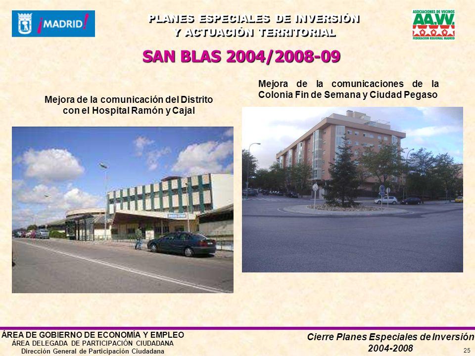 Cierre Planes Especiales de Inversión 2004-2008 PLANES ESPECIALES DE INVERSIÓN Y ACTUACIÓN TERRITORIAL PLANES ESPECIALES DE INVERSIÓN Y ACTUACIÓN TERRITORIAL ÁREA DE GOBIERNO DE ECONOMÍA Y EMPLEO ÁREA DELEGADA DE PARTICIPACIÓN CIUDADANA Dirección General de Participación Ciudadana 25 SAN BLAS 2004/2008-09 Mejora de la comunicación del Distrito con el Hospital Ramón y Cajal Mejora de la comunicaciones de la Colonia Fin de Semana y Ciudad Pegaso