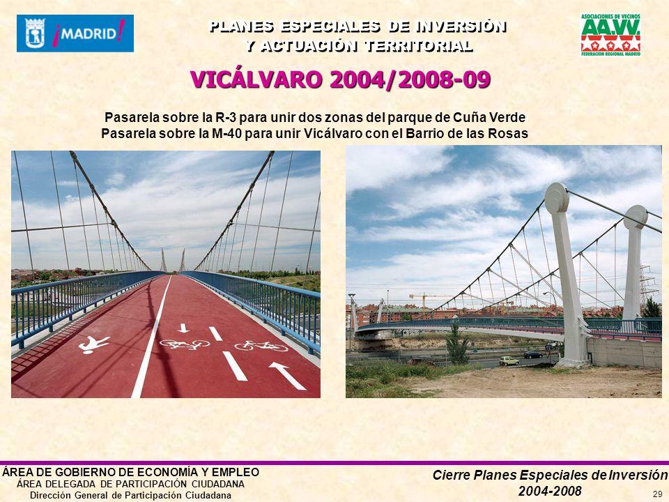 Cierre Planes Especiales de Inversión 2004-2008 PLANES ESPECIALES DE INVERSIÓN Y ACTUACIÓN TERRITORIAL PLANES ESPECIALES DE INVERSIÓN Y ACTUACIÓN TERRITORIAL ÁREA DE GOBIERNO DE ECONOMÍA Y EMPLEO ÁREA DELEGADA DE PARTICIPACIÓN CIUDADANA Dirección General de Participación Ciudadana 29 VICÁLVARO 2004/2008-09 Pasarela sobre la R-3 para unir dos zonas del parque de Cuña Verde Pasarela sobre la M-40 para unir Vicálvaro con el Barrio de las Rosas