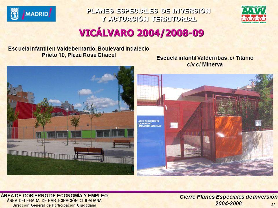 Cierre Planes Especiales de Inversión 2004-2008 PLANES ESPECIALES DE INVERSIÓN Y ACTUACIÓN TERRITORIAL PLANES ESPECIALES DE INVERSIÓN Y ACTUACIÓN TERRITORIAL ÁREA DE GOBIERNO DE ECONOMÍA Y EMPLEO ÁREA DELEGADA DE PARTICIPACIÓN CIUDADANA Dirección General de Participación Ciudadana 32 VICÁLVARO 2004/2008-09 Escuela Infantil en Valdebernardo, Boulevard Indalecio Prieto 10, Plaza Rosa Chacel Escuela infantil Valderribas, c/ Titanio c/v c/ Minerva