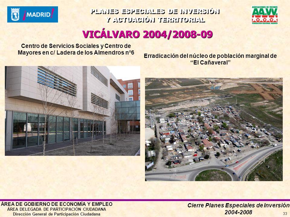 Cierre Planes Especiales de Inversión 2004-2008 PLANES ESPECIALES DE INVERSIÓN Y ACTUACIÓN TERRITORIAL PLANES ESPECIALES DE INVERSIÓN Y ACTUACIÓN TERRITORIAL ÁREA DE GOBIERNO DE ECONOMÍA Y EMPLEO ÁREA DELEGADA DE PARTICIPACIÓN CIUDADANA Dirección General de Participación Ciudadana 33 VICÁLVARO 2004/2008-09 Erradicación del núcleo de población marginal de El Cañaveral Centro de Servicios Sociales y Centro de Mayores en c/ Ladera de los Almendros nº6