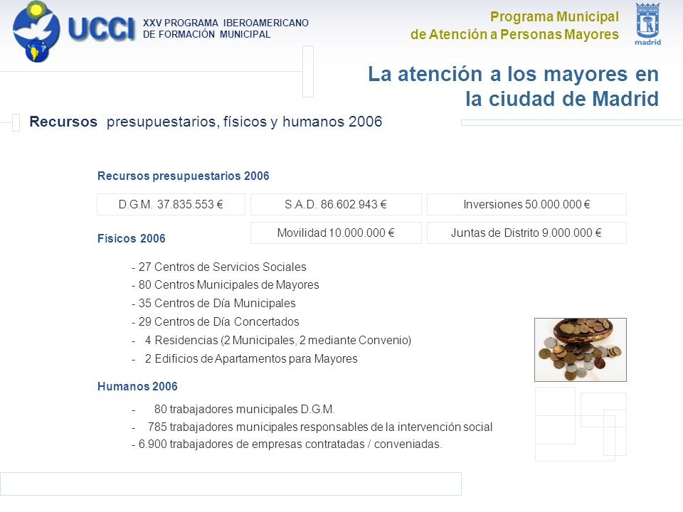 Programa Municipal de Atención a Personas Mayores XXV PROGRAMA IBEROAMERICANO DE FORMACIÓN MUNICIPAL La atención a los mayores en la ciudad de Madrid Recursos presupuestarios, físicos y humanos 2006 Humanos 2006 - 80 trabajadores municipales D.G.M.