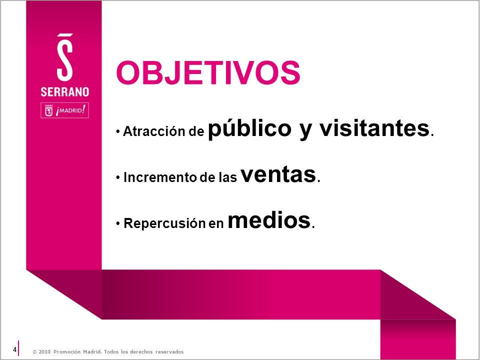 4 © 2010 Promoción Madrid. Todos los derechos reservados Atracción de público y visitantes. Incremento de las ventas. Repercusión en medios. OBJETIVOS