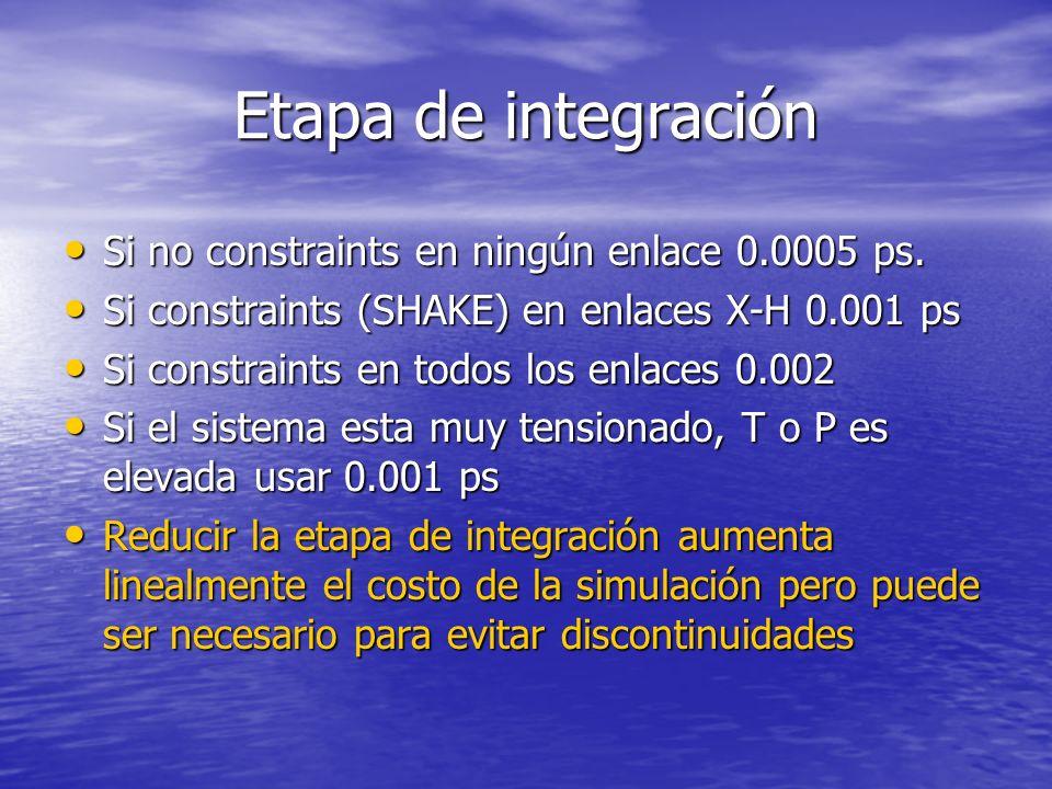 Etapa de integración Si no constraints en ningún enlace 0.0005 ps.