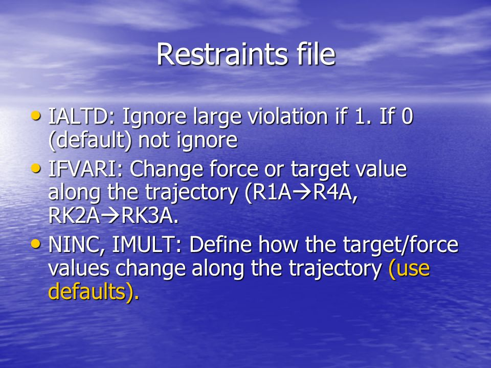 Restraints file IALTD: Ignore large violation if 1.