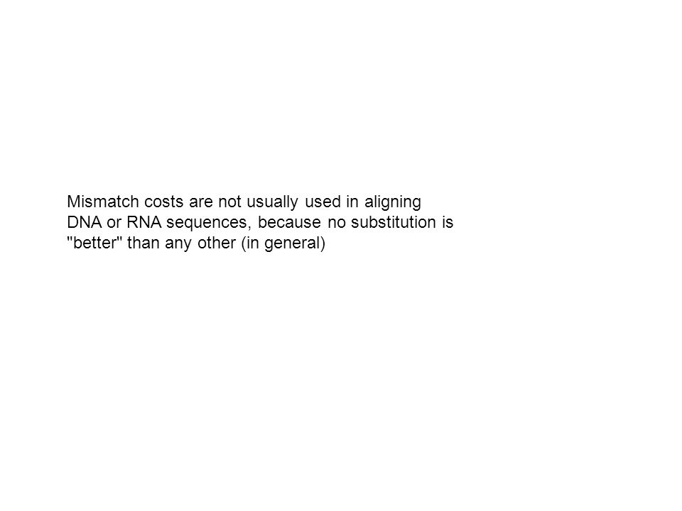 Mismatch costs are not usually used in aligning DNA or RNA sequences, because no substitution is