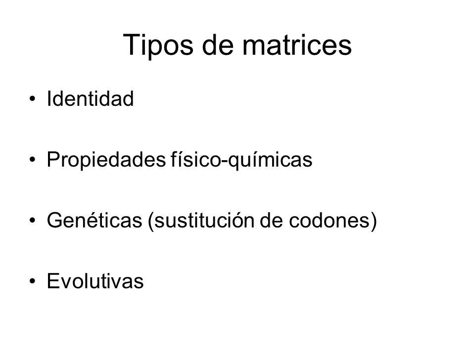 Tipos de matrices Identidad Propiedades físico-químicas Genéticas (sustitución de codones) Evolutivas
