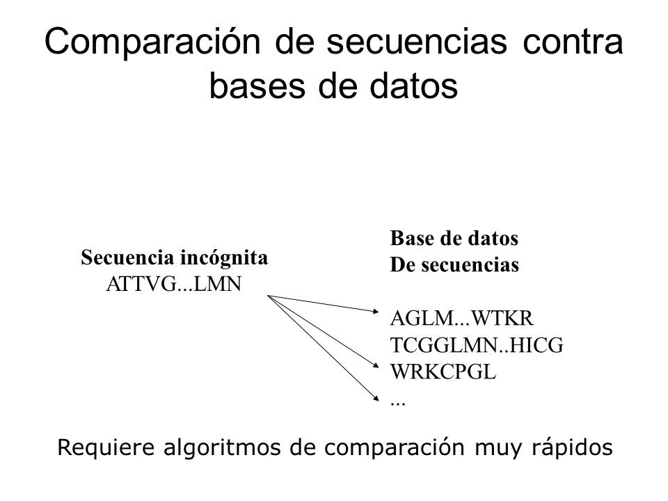 Comparación de secuencias contra bases de datos Secuencia incógnita ATTVG...LMN Base de datos De secuencias AGLM...WTKR TCGGLMN..HICG WRKCPGL... Requi