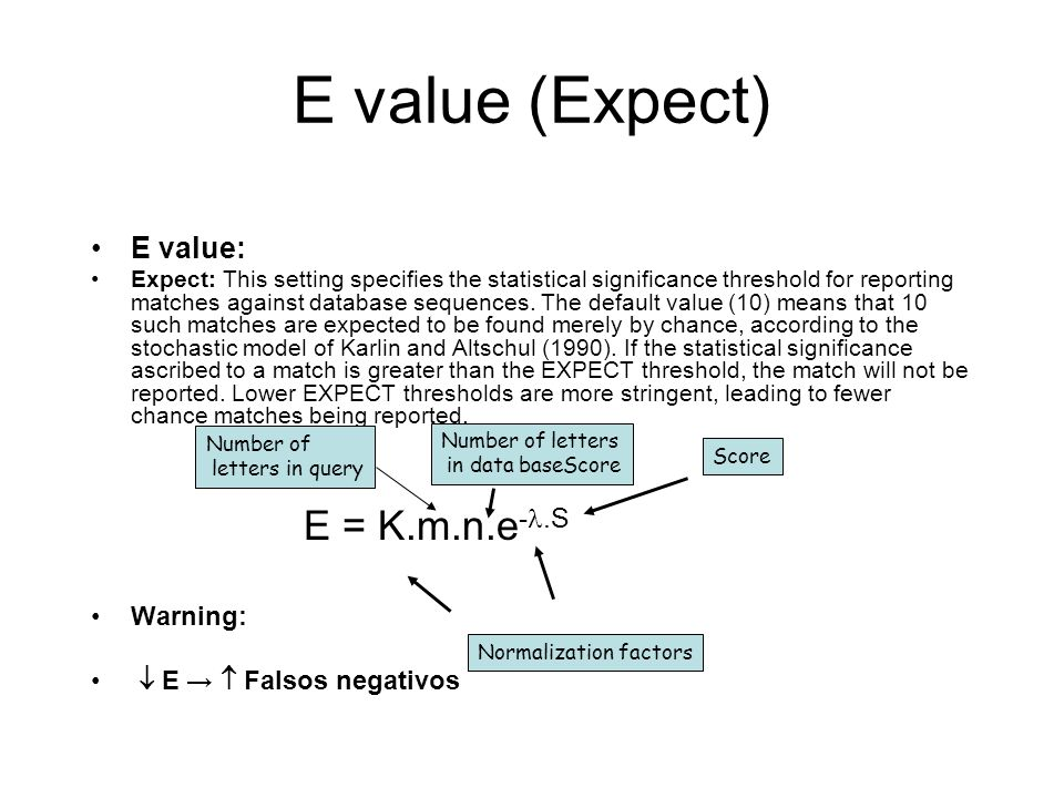 E value (Expect) E value: Expect: This setting specifies the statistical significance threshold for reporting matches against database sequences. The