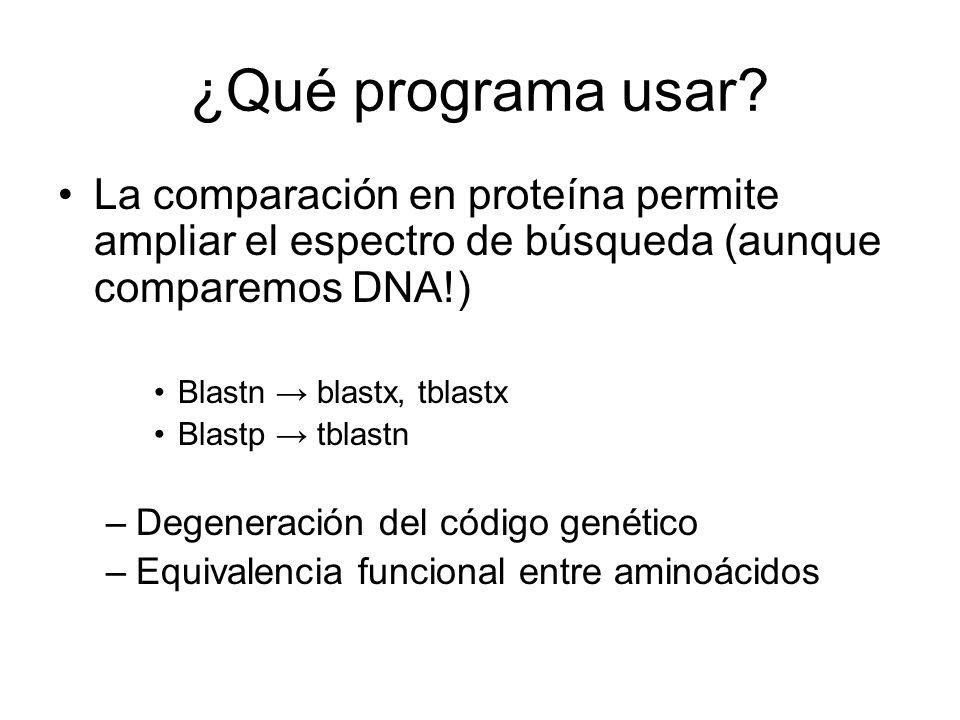 ¿Qué programa usar? La comparación en proteína permite ampliar el espectro de búsqueda (aunque comparemos DNA!) Blastn blastx, tblastx Blastp tblastn