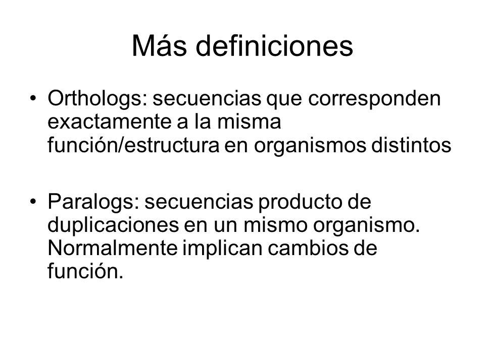 Más definiciones Orthologs: secuencias que corresponden exactamente a la misma función/estructura en organismos distintos Paralogs: secuencias product