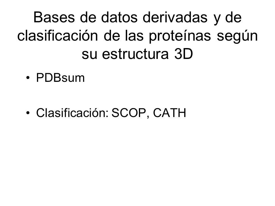 Bases de datos derivadas y de clasificación de las proteínas según su estructura 3D PDBsum Clasificación: SCOP, CATH