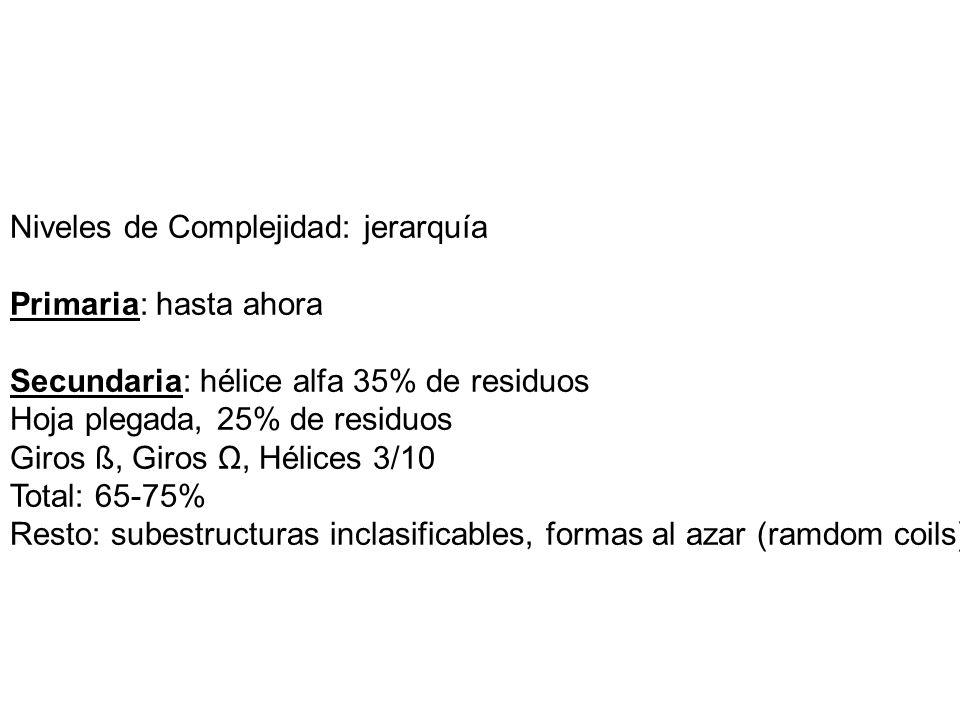 Estructura terciaria Clasificación simple: –Todo alfa (>50% helix; <10% ß) –Todo ß (>30% beta; <5% heix) –Mezcla Clasificación refinada –Topologías, motivos dominios –Plegamientos.